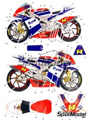 Studio27: Decals 1/12 scale - Honda RSW250 PTT #14 - World Championship 2008 - for Hasegawa kit