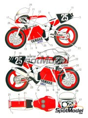 Studio27: Decals 1/12 scale - Yamaha FZR750 Tech21 #25 - World Championship 1985 - for Fujimi kit
