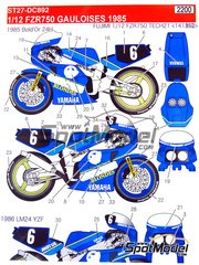 Studio27: Decals 1/12 scale - Yamaha FZR750 Gauloises #6 1985 and 1986 - for Fujimi references FJ141312, 141312 and 14131
