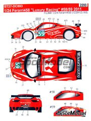 Studio27: Marking / livery 1/24 scale - Ferrari 458 Luxury racing #58, 59 - Pierre Thiriet (FR) + Jean-Pierre Beltoise (FR) + François Jakubowski (FR), Jaime Melo (BR) + Frédéric 'Mako' Makowiecki (FR) + Stéphane Ortelli (MC) - 24 Hours Le Mans 2011 - water slide decals and assembly instructions - for Fujimi references FJ12382, FJ123820, 123820, RS-81, FJ123912, 123912, FR-16, FJ123950 and 123950, or Revell references REV07141 and 7141