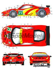 Studio27: Marking 1/24 scale - Ferrari 458 AF Corse RK Motors #71 - Robert Kauffman (US) + Rui Águas (PT) + Michael Waltrip (US) - 24 Hours Le Mans 2011 - water slide decals and assembly instructions - for Fujimi kits FJ12382, FJ123820, FJ123912 and FJ123950, or Revell kit REV07141