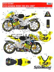 Studio27: Decals 1/12 scale - Honda RSW250 Ascot #34 - Andrea Dovizioso (IT) - World Championship 2007 - for Hasegawa kit