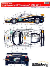 Studio27: Marking / livery 1/24 scale - Ferrari 458 Hankook #89 - Leh Keen (US) + Allan Simonsen (DK) + Dominik Farnbacher (DE) - 24 Hours Le Mans 2011 - for Fujimi references FJ123912, 123912 and FR-16