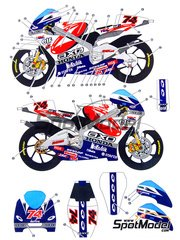 Studio27: Decals 1/12 scale - Honda RSW250 Axo Gresini #74 - Daijiro Kato (JP) - Motorcycle World Championship 2000 - for Hasegawa kit