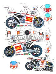 Studio27: Marking / livery 1/12 scale - Honda RC212V Gresini #7, 58 - Marco Simoncelli (IT), Hiroshi Aoyama (JP) - Motorcycle World Championship 2011 - water slide decals and assembly instructions - for Tamiya references TAM14107, 14107, TAM14108 and 14108
