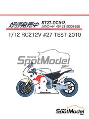 Studio27: Decals 1/12 scale - Honda RC212V #27 - Casey Stoner (AU) - IRTA Test 2010 - for Tamiya kit
