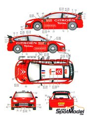 Studio27: Calcas de agua escala 1/24 - Citroen C4 WRC Total Nº 1, 2 - Sebastien Loeb (FR), Daniel 'Dani' Sordo (ES) - Rally de Montecarlo 2008 - para la referencia de Heller 80756