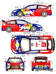 Studio27: Decals 1/24 scale - Citroen C4 WRC Total #1, 2 - Sebastien Loeb (FR), Daniel 'Dani' Sordo (ES) - Alsace France Rally, Japan rally 2008 - for Heller kit 80756