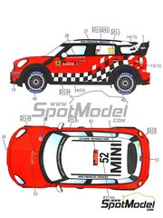 Studio27: Decals 1/24 scale - Mini John Cooper Works WRC Lauto #37, 52 - Daniel 'Dani' Sordo (ES) + Carlos Pedro del Barrio (AR), Kris Meeke (GB) + Paul Nagle (IE) - World Championship 2011 - for Hasegawa reference 24121