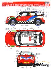 Studio27: Marking / livery 1/24 scale - Mini John Cooper Works WRC Lauto #37, 52 - Daniel 'Dani' Sordo (ES) + Carlos Pedro del Barrio (AR), Pierre Campana (FR) + Sabrina de Castelli (FR) - Montecarlo Rally 2012 - water slide decals and assembly instructions - for Hasegawa reference 24121