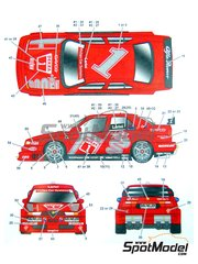 Studio27: Marking / livery 1/24 scale - Alfa Romeo 155 V6 TI #1, 2 - Nicola Larini (IT) - DTM 1994 - water slide decals and assembly instructions - for Tamiya references TAM24137, TAM24148, TAM24176, TAM24182, TAM96356 and TAM96357