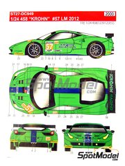 Studio27: Marking / livery 1/24 scale - Ferrari 458 Krohn Racing #57 - Tracy Krohn (US) + Niclas 'Nic' Jönsson (SE) + Michele Rugolo (IT) - 24 Hours Le Mans 2012 - water slide decals and assembly instructions - for Fujimi references FJ12382, FJ123820, FJ123912 and FJ123950, or Revell reference REV07141