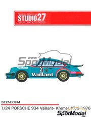 Studio27: Marking / livery 1/24 scale - Porsche 934 Turbo RSR Group 4 Vaillant #9 - Armin Kremer (DE) 1976 - water slide decals and assembly instructions - for Tamiya kits TAM24328 and TAM24334