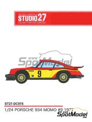 Studio27: Marking / livery 1/24 scale - Porsche 934 Turbo RSR Group 4 Momo #9 - Armin Kremer (DE) 1977 - water slide decals and assembly instructions - for Tamiya kits TAM24328 and TAM24334