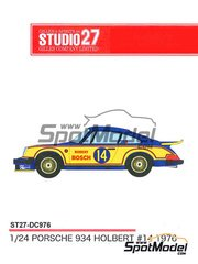 Studio27: Marking / livery 1/24 scale - Porsche 934 Turbo RSR Group 4 Robert Bosch #14 1976 - water slide decals and assembly instructions - for Tamiya references TAM24328, 24328, TAM24334 and 24334
