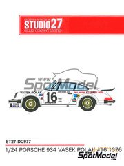 Studio27: Marking / livery 1/24 scale - Porsche 934 Turbo RSR Group 4 Vasek Polak #16 1976 - water slide decals and assembly instructions - for Revell references REV07031 and REV07032, or Tamiya references TAM24328 and TAM24334