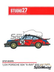 Studio27: Marking / livery 1/24 scale - Porsche 911 Turbo RSR Type 934 JMS #56 - 24 Hours Le Mans 1977 - for Tamiya reference TAM24328