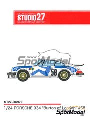 Studio27: Marking / livery 1/24 scale - Porsche 934 Turbo RSR Group 4 Burton of London #58 - 24 Hours Le Mans 1977 - water slide decals and assembly instructions - for Tamiya references TAM24328 and TAM24334