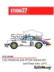 Studio27: Marking / livery 1/24 scale - Porsche 934 Turbo RSR Group 4 Brumos Porsche #61 - 24 Hours of Daytona 1977 - for Tamiya references TAM24328, 24328, TAM24334 and 24334