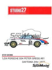 Studio27: Marking 1/24 scale - Porsche 934 Turbo RSR Group 4 Brumos Porsche #61 - 24 Hours Daytona 1977 - for Tamiya kits TAM24328 and TAM24334