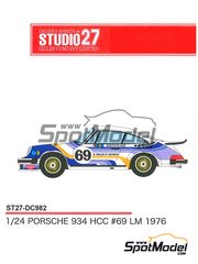 Studio27: Marking / livery 1/24 scale - Porsche 934 Turbo RSR Group 4 HCC #69 - Claude Haldi (CH) + Florian Vetsch (CH) - 24 Hours Le Mans 1976 - water slide decals and assembly instructions - for Tamiya references TAM24328 and TAM24334