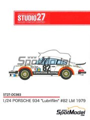 Studio27: Marking / livery 1/24 scale - Porsche 934 Turbo RSR Group 4 Lubrifilm #82 - 24 Hours Le Mans 1979 - water slide decals and assembly instructions - for Tamiya references TAM24328 and TAM24334