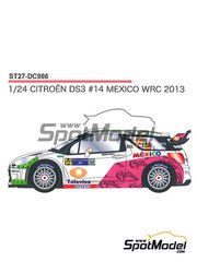 Studio27: Decals 1/24 scale - Citroen DS3 WRC Mexico #14 - Guerra + Rozada - Mexico Rally 2013 - for Heller references 80757 and 80758