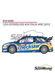 Studio27: Marking / livery 1/24 scale - Citroen DS3 WRC Checkstar #24 - Luca Pedersoli (IT) + Matteo Romano (IT) - Giro de Italia Rally 2012 - water slide decals and assembly instructions - for Heller references 80757 and 80758