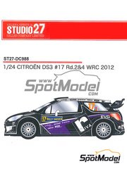 Studio27: Decals 1/24 scale - Citroen DS3 WRC Riva #17 - Peter van Merksteijn (NL) + Eddy Chevaillier (BE) - Portugal Rally, Svezia Sweden Rally 2012 - for Heller references 80757 and 80758