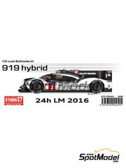 Studio27: Model car kit 1/24 scale - Porsche 919 Hybrid #1, 2 - 24 Hours Le Mans 2016 - photo-etched parts, resin parts, rubber parts, turned metal parts, vacuum formed parts, water slide decals, white metal parts and assembly instructions
