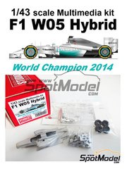 Studio27: Model car kit 1/43 scale - Mercedes F1 W05 Hybrid Petronas - Lewis Hamilton (GB), Nico Rosberg (DE) - World Championship 2014 - metal kit