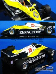 Studio27: Model car kit 1/20 scale - Renault Turbo RE40 ELF #15, 16 - Alain Prost (FR), Eddie Cheever (US) - South African Grand Prix 1983 - resin multimaterial kit