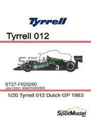 Studio27: Model car kit 1/20 scale - Tyrrell Ford 012 Benetton #3 - Michele Alboreto (IT) - Dutch Grand Prix 1983 - resin multimaterial kit