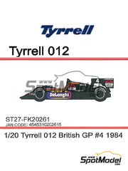 Studio27: Model car kit 1/20 scale - Tyrrell Ford 012 DeLonghi #4 - British Grand Prix 1984 - resin multimaterial kit