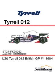Studio27: Model car kit 1/20 scale - Tyrrell Ford 012 Systime #4 - Stefan Johansson (SE) - British Grand Prix 1984 - resin multimaterial kit