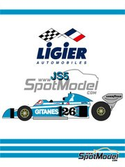 Studio27: Model car kit 1/20 scale - Ligier JS5 Gitanes - Monaco Formula 1 Grand Prix 1976 - resin multimaterial kit