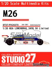 Studio27: Model car kit 1/20 scale - McLaren M26 Lowenbrau - World Championship 1978 - resin multimaterial kit