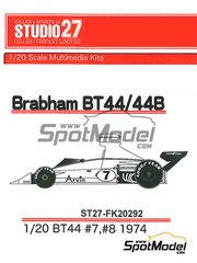 Studio27: Model car kit 1/20 scale - Brabham Ford BT44 Arvin #7, 8 - World Championship 1974 - resin multimaterial kit