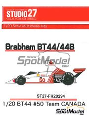 Studio27: Model car kit 1/20 scale - Brabham Ford BT44 Canada #50 - World Championship 1974 - resin multimaterial kit