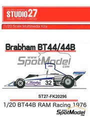 Studio27: Model car kit 1/20 scale - Brabham BT44B RAM Racing #32 - World Championship 1976 - resin multimaterial kit