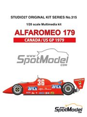 Studio27: Model car kit 1/20 scale - Alfa Romeo 179 Avila #36 - Vittorio Brambilla (IT) - Canadian Formula 1 Grand Prix, USA Formula 1 Grand Prix 1979 - Multimaterial kit image