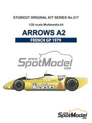 Studio27: Model car kit 1/20 scale - Arrows Ford A2 Warsteiner #29, 30 - Riccardo Patrese (IT), Jochen Mass (DE) - French Formula 1 Grand Prix 1979 - multimaterial kit image