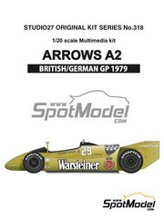 Studio27: Model car kit 1/20 scale - Arrows Ford A2 Warsteiner #29, 30 - Riccardo Patrese (IT), Jochen Mass (DE) - German Grand Prix, British Grand Prix 1979 - multimaterial kit