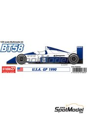 Studio27: Model car kit 1/20 scale - Brabham Judd BT58 #8 - USA Grand Prix 1990 - resin parts, water slide decals, white metal parts and assembly instructions