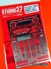 Studio27: Detail up set 1/24 scale - Lamborghini Miura and Jota - photo-etched parts and assembly instructions - for Hasegawa references 20278, 20319, 21213, HC-13, HC13, HSG21213, 4967834211131, 21214, HC-14, HAHC13, 21213 and HC-13