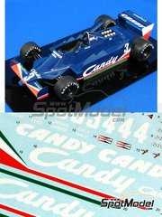 Studio27: Marking / livery 1/20 scale - Tyrrell 009 Candy #1, 2, 3, 33 - Jean-Pierre Jarier (FR), Didier Pironi (FR), Geoff Lees (GB), Derek Daly (IE) - World Championship 1979 - for Studio27 kit
