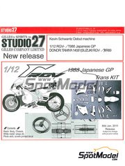 Studio27: Transkit 1/12 scale - Suzuki RGV-Gamma XR-89 #34 - Kevin Schwantz (US) - Japan Grand Prix 1988 - resins, decals, photo-etch and metal parts - for Tamiya kit TAM14081