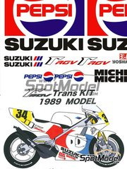 Studio27: Transkit 1/12 scale - Suzuki RGV-Gamma XR-89 Pepsi #34 - Kevin Schwantz (US) - World Championship 1989 - resins, decals, photo-etch and metal parts - for Tamiya kit TAM14081