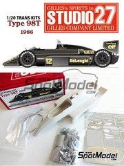 Studio27: Transkit 1/20 scale - Lotus Renault 98T John Player Special #11, 12 - Ayrton Senna (BR), Johnny Dumfries (GB) - World Championship 1986 - for Tamiya kit TAM20057