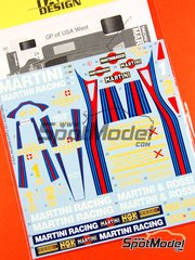 Tabu Design: Marking / livery 1/20 scale - Lotus Ford Type 79 Essex Martini Racing #1 - Mario Andretti (US) - World Championship 1979 - water slide decals - for Tamiya references TAM20060 and TAM20061